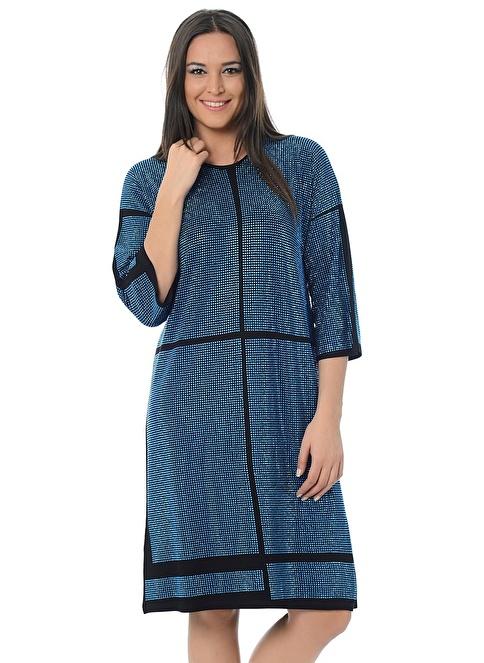 Hüseyin Küçük Büyük Beden Elbise Mavi